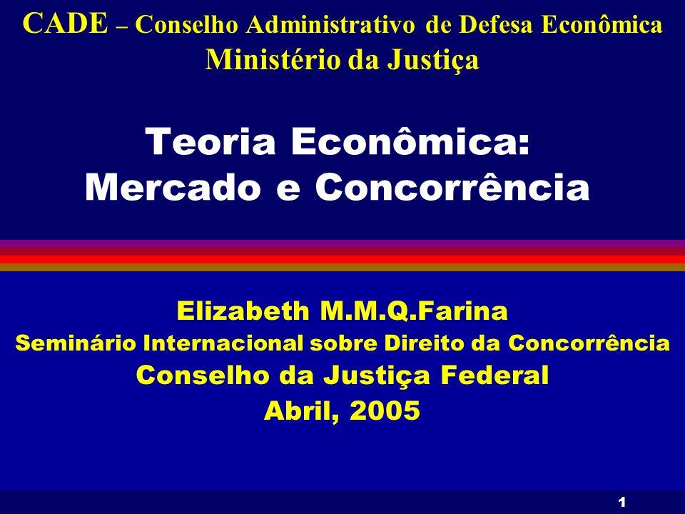 1 Teoria Econômica: Mercado e Concorrência Elizabeth M.M.Q.Farina Seminário Internacional sobre Direito da Concorrência Conselho da Justiça Federal Ab