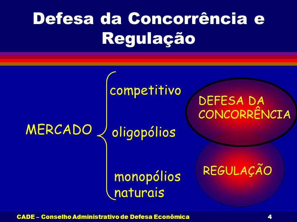 CADE – Conselho Administrativo de Defesa Econômica4 Defesa da Concorrência e Regulação MERCADO competitivo oligopólios monopólios naturais DEFESA DA C