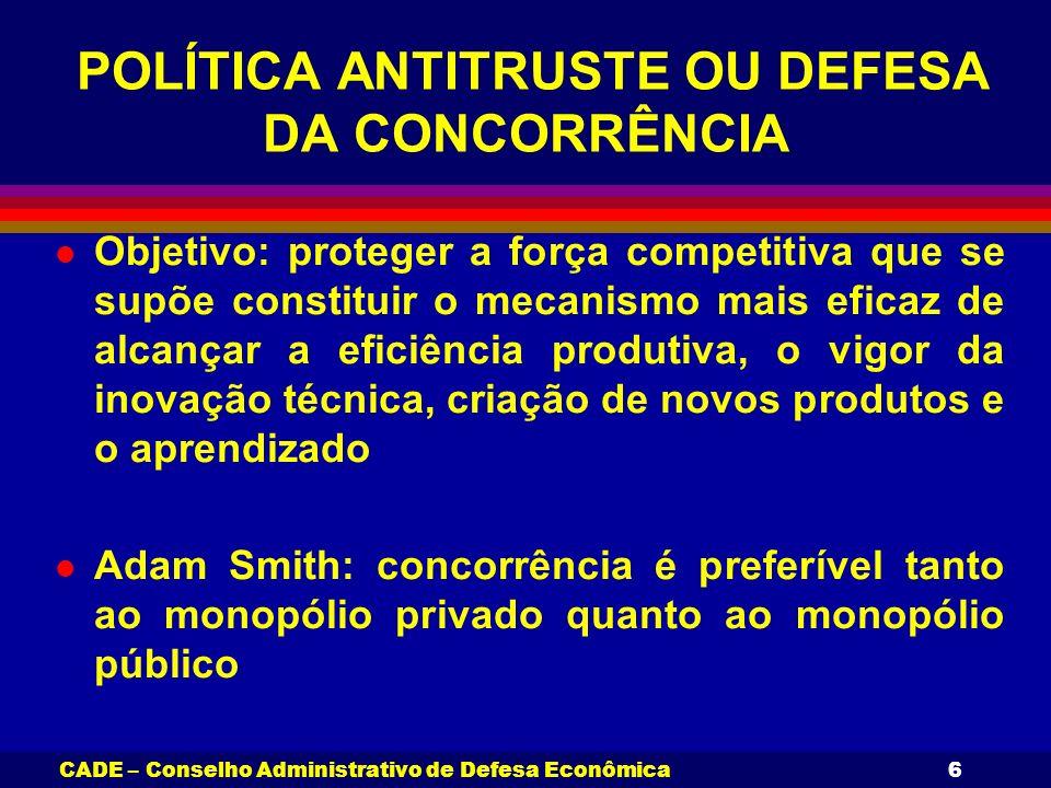 CADE – Conselho Administrativo de Defesa Econômica6 POLÍTICA ANTITRUSTE OU DEFESA DA CONCORRÊNCIA l Objetivo: proteger a força competitiva que se supõ