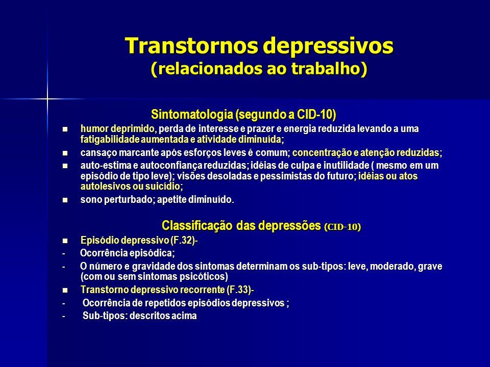 Transtornos depressivos (relacionados ao trabalho) Sintomatologia (segundo a CID-10) Sintomatologia (segundo a CID-10) humor deprimido, perda de inter