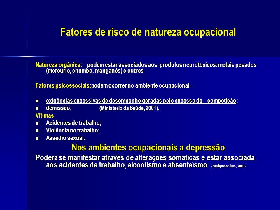 Fatores de risco de natureza ocupacional Natureza orgânica: podem estar associados aos produtos neurotóxicos: metais pesados (mercúrio, chumbo, mangan