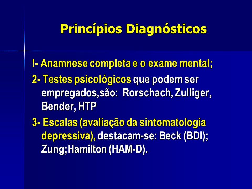 Princípios Diagnósticos !- Anamnese completa e o exame mental; 2- Testes psicológicos que podem ser empregados,são: Rorschach, Zulliger, Bender, HTP 3