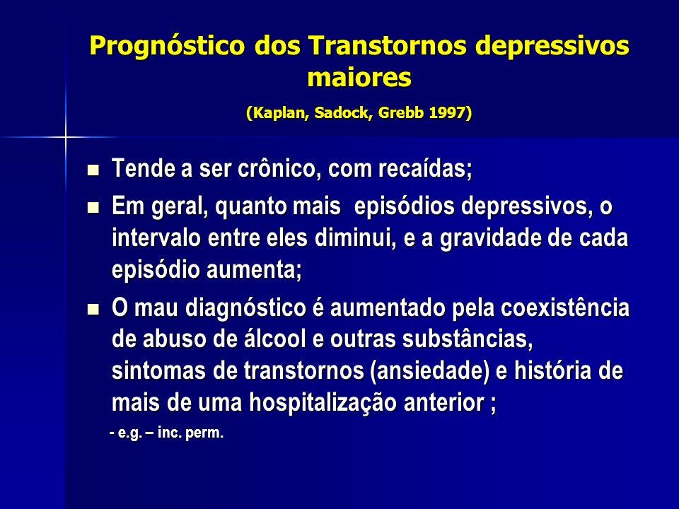 Prognóstico dos Transtornos depressivos maiores (Kaplan, Sadock, Grebb 1997) Tende a ser crônico, com recaídas; Tende a ser crônico, com recaídas; Em