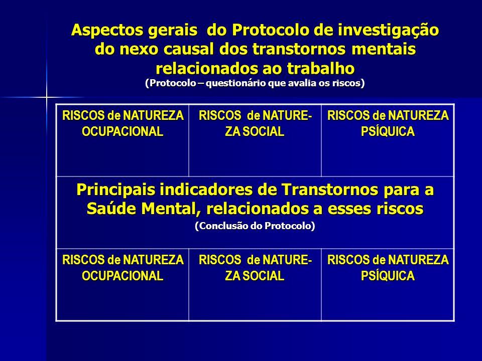 Aspectos gerais do Protocolo de investigação do nexo causal dos transtornos mentais relacionados ao trabalho (Protocolo – questionário que avalia os r