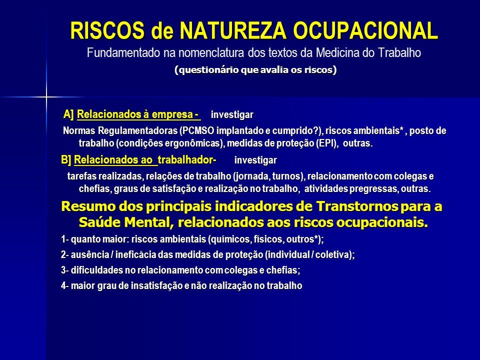 RISCOS de NATUREZA OCUPACIONAL (questionário que avalia os riscos) RISCOS de NATUREZA OCUPACIONAL Fundamentado na nomenclatura dos textos da Medicina