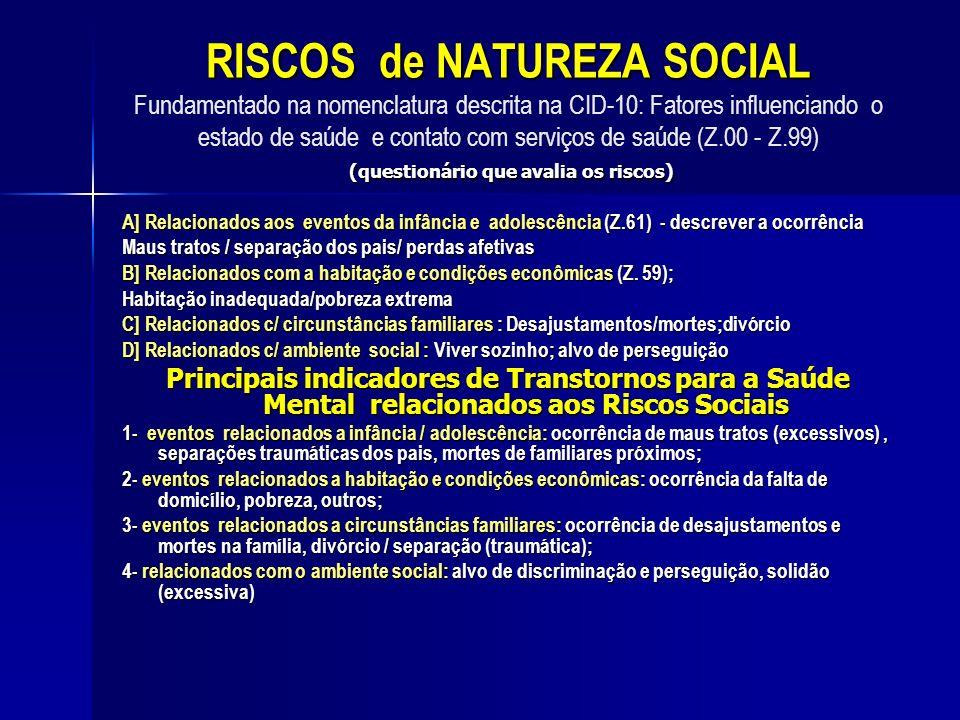RISCOS de NATUREZA SOCIAL (questionário que avalia os riscos) RISCOS de NATUREZA SOCIAL Fundamentado na nomenclatura descrita na CID-10: Fatores influ