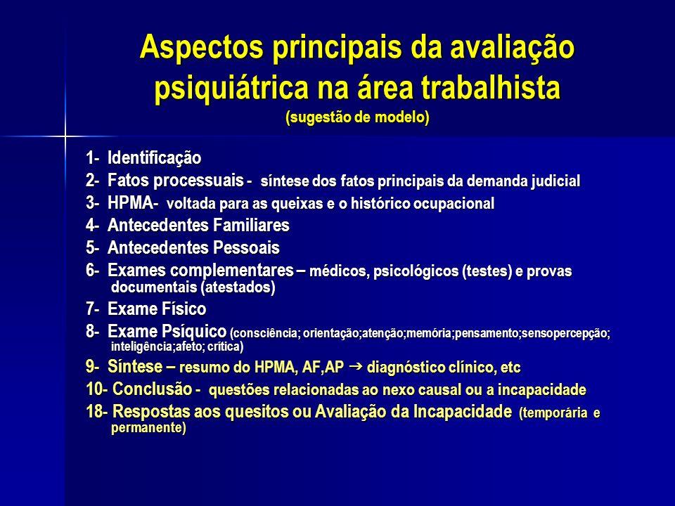 Aspectos principais da avaliação psiquiátrica na área trabalhista (sugestão de modelo) 1- Identificação 2- Fatos processuais - síntese dos fatos princ