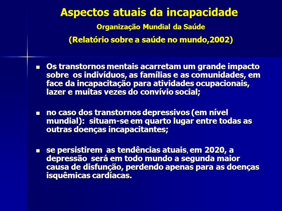 Aspectos atuais da incapacidade Organização Mundial da Saúde (Relatório sobre a saúde no mundo,2002) Os transtornos mentais acarretam um grande impact