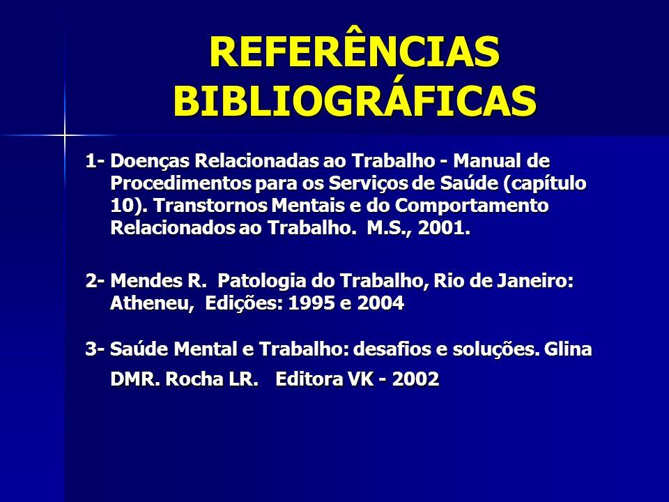 REFERÊNCIAS BIBLIOGRÁFICAS 1- Doenças Relacionadas ao Trabalho - Manual de Procedimentos para os Serviços de Saúde (capítulo 10). Transtornos Mentais