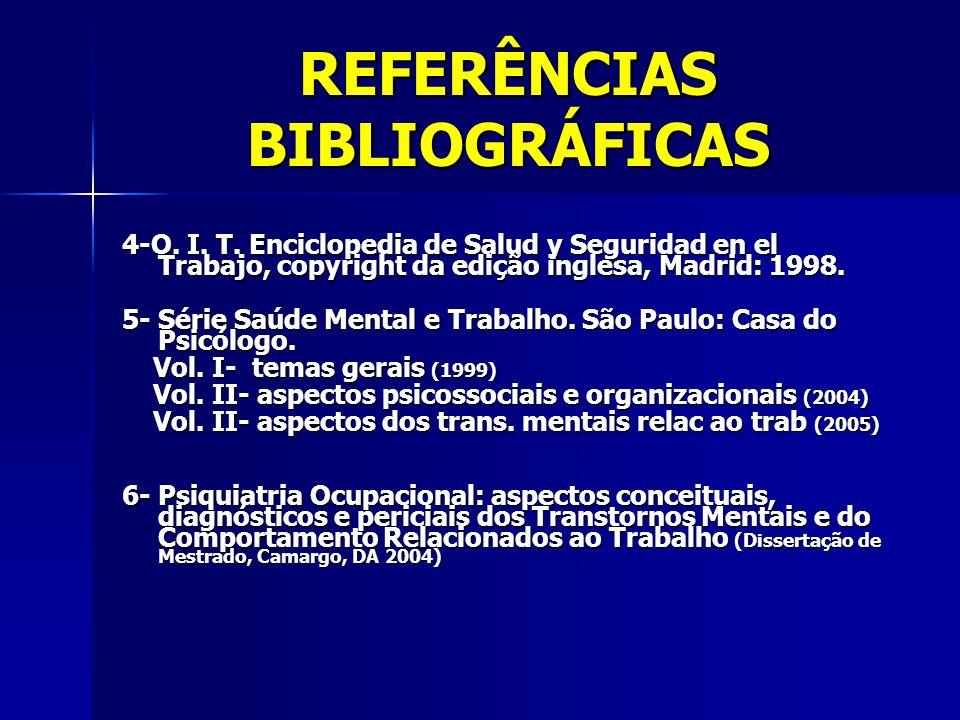 REFERÊNCIAS BIBLIOGRÁFICAS 4-O. I. T. Enciclopedia de Salud y Seguridad en el Trabajo, copyright da edição inglesa, Madrid: 1998. 5- Série Saúde Menta