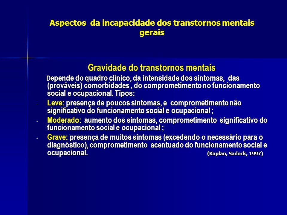 Aspectos da incapacidade dos transtornos mentais gerais(relacionadas) Tipos de transtornos Esquizofrenia- mais de 50% dos pac.