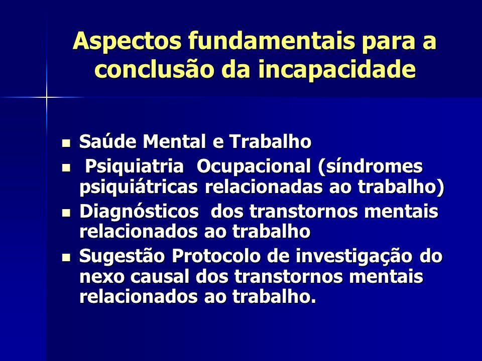 Aspectos fundamentais para a conclusão da incapacidade Saúde Mental e Trabalho Saúde Mental e Trabalho Psiquiatria Ocupacional (síndromes psiquiátrica