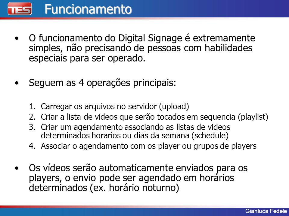 Gianluca FedeleFuncionamento O funcionamento do Digital Signage é extremamente simples, não precisando de pessoas com habilidades especiais para ser o