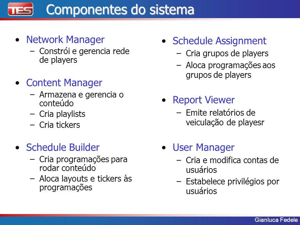Gianluca Fedele Componentes do sistema Network Manager –Constrói e gerencia rede de players Content Manager –Armazena e gerencia o conteúdo –Cria play
