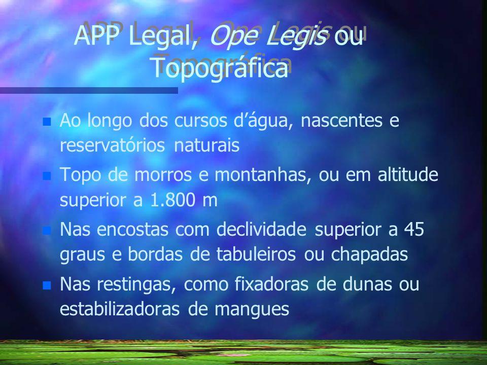 APP Legal, Ope Legis ou Topográfica n n Ao longo dos cursos dágua, nascentes e reservatórios naturais n n Topo de morros e montanhas, ou em altitude s