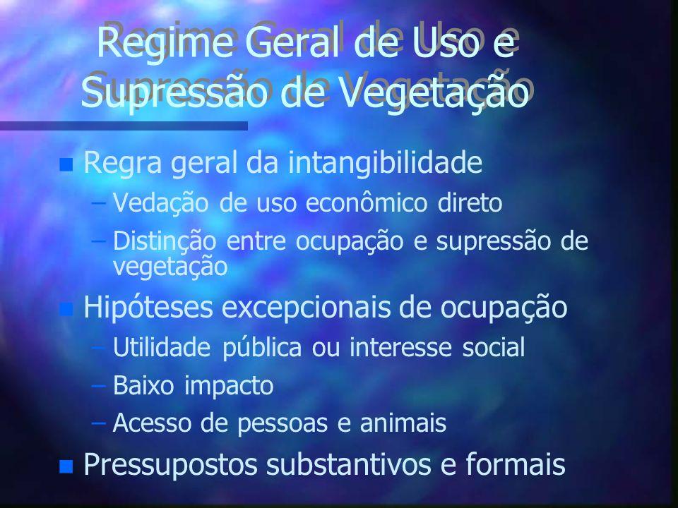 Regime Geral de Uso e Supressão de Vegetação n n Regra geral da intangibilidade – –Vedação de uso econômico direto – –Distinção entre ocupação e supre