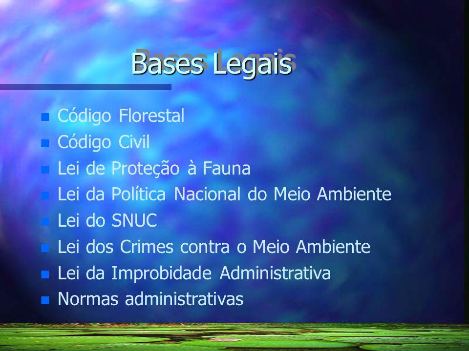 Bases Legais n n Código Florestal n n Código Civil n n Lei de Proteção à Fauna n n Lei da Política Nacional do Meio Ambiente n n Lei do SNUC n n Lei d