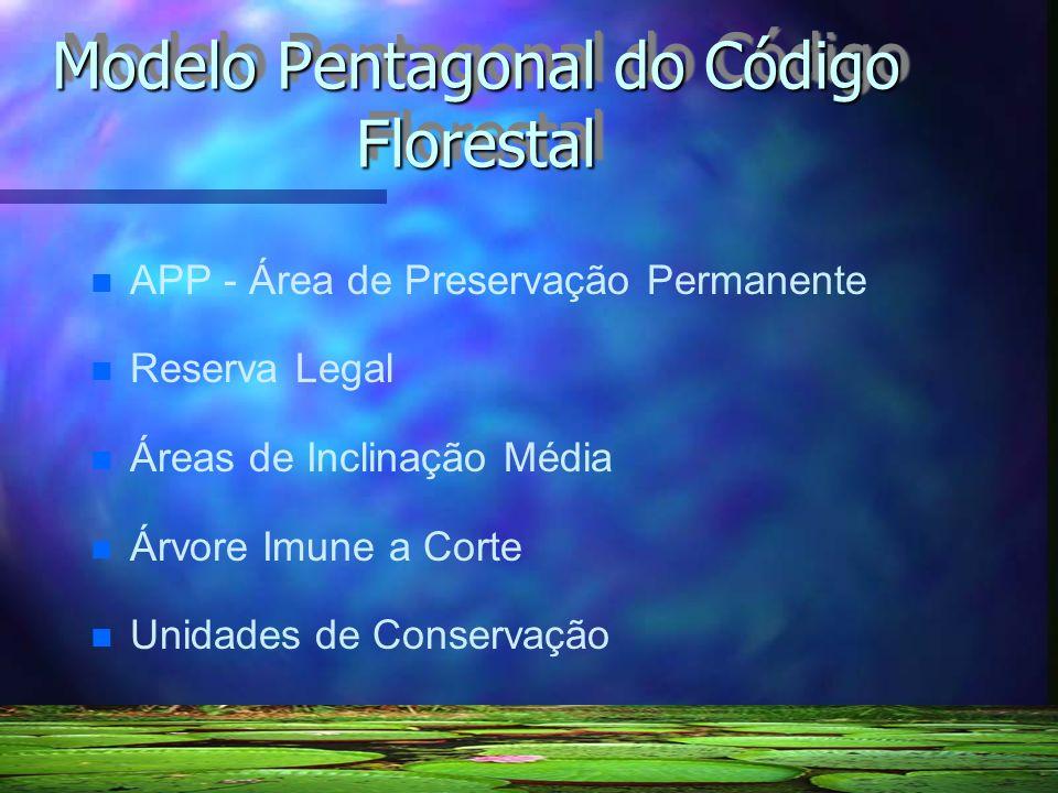 Modelo Pentagonal do Código Florestal n n APP - Área de Preservação Permanente n n Reserva Legal n n Áreas de Inclinação Média n n Árvore Imune a Cort