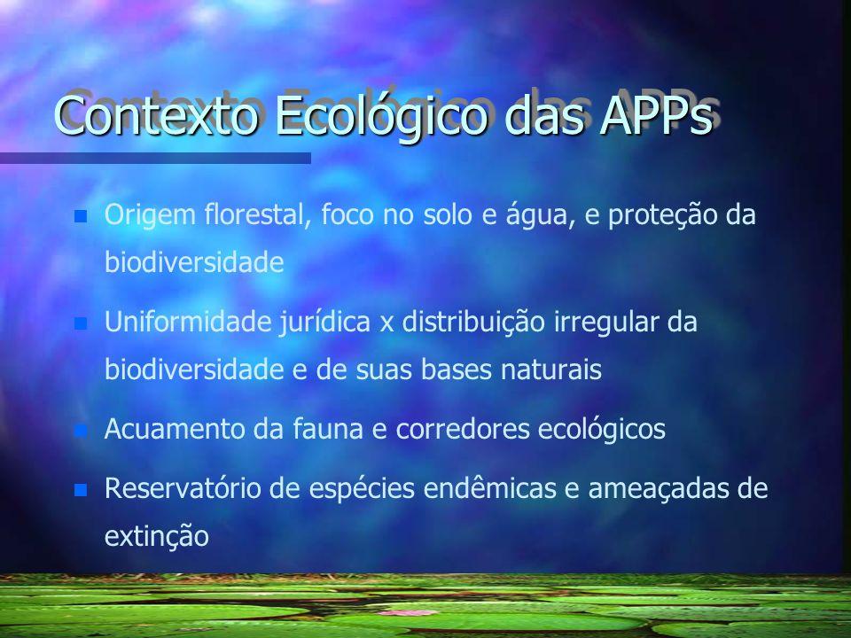 Contexto Ecológico das APPs n n Origem florestal, foco no solo e água, e proteção da biodiversidade n n Uniformidade jurídica x distribuição irregular