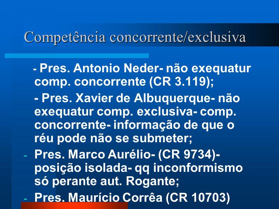 Competência concorrente/exclusiva - Pres. Antonio Neder- não exequatur comp. concorrente (CR 3.119); - Pres. Xavier de Albuquerque- não exequatur comp