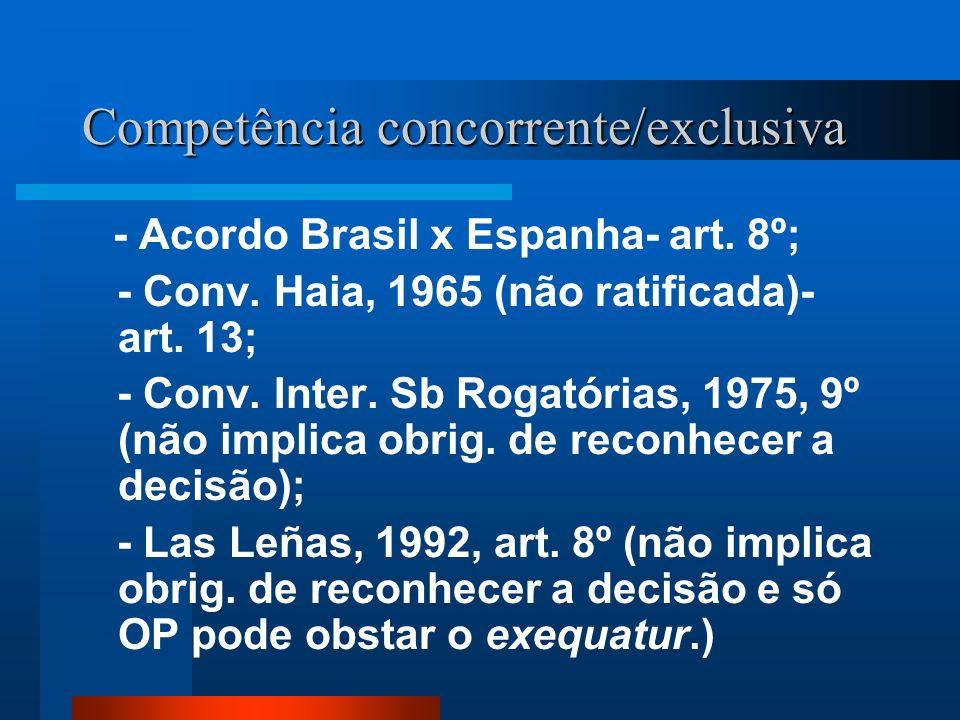 Competência concorrente/exclusiva - Acordo Brasil x Espanha- art. 8º; - Conv. Haia, 1965 (não ratificada)- art. 13; - Conv. Inter. Sb Rogatórias, 1975