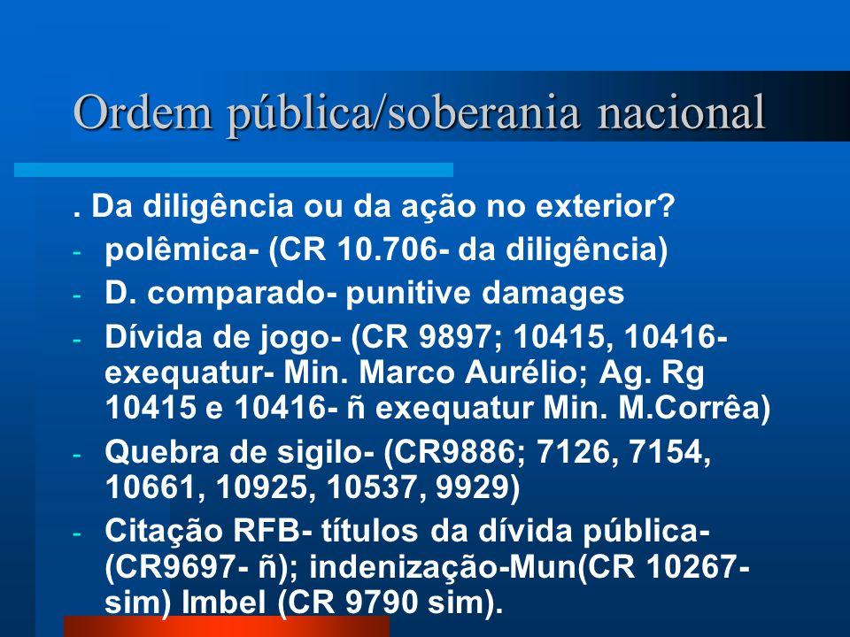 Ordem pública/soberania nacional. Da diligência ou da ação no exterior? - polêmica- (CR 10.706- da diligência) - D. comparado- punitive damages - Dívi