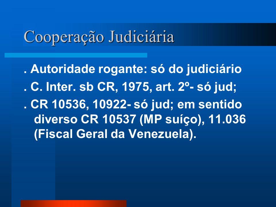 Cooperação Judiciária. Autoridade rogante: só do judiciário. C. Inter. sb CR, 1975, art. 2º- só jud;. CR 10536, 10922- só jud; em sentido diverso CR 1
