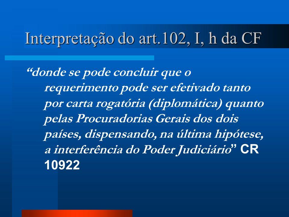 Interpretação do art.102, I, h da CF donde se pode concluir que o requerimento pode ser efetivado tanto por carta rogatória (diplomática) quanto pelas