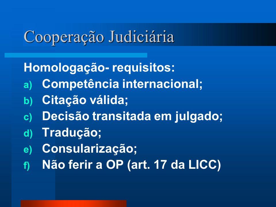 Cooperação Judiciária Homologação- requisitos: a) Competência internacional; b) Citação válida; c) Decisão transitada em julgado; d) Tradução; e) Cons