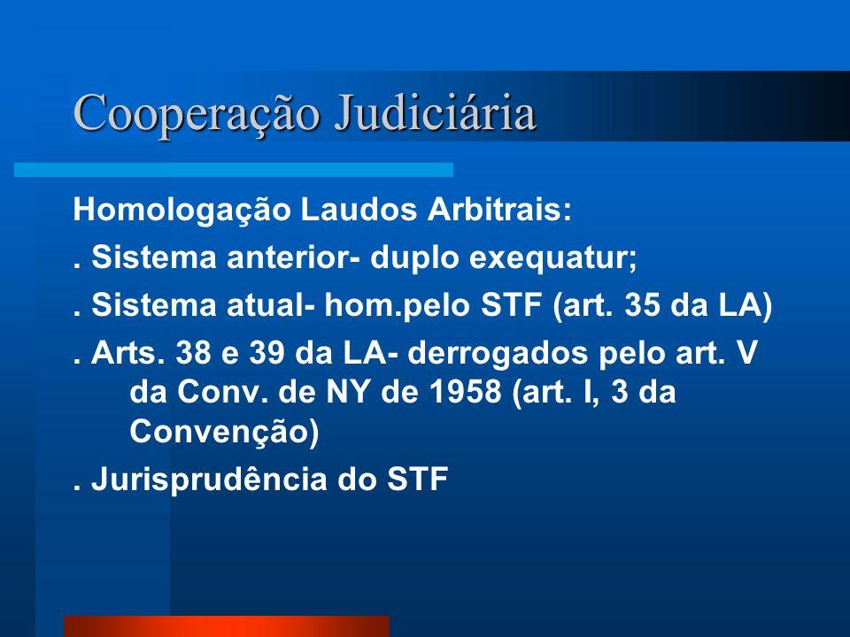 Cooperação Judiciária Homologação Laudos Arbitrais:. Sistema anterior- duplo exequatur;. Sistema atual- hom.pelo STF (art. 35 da LA). Arts. 38 e 39 da