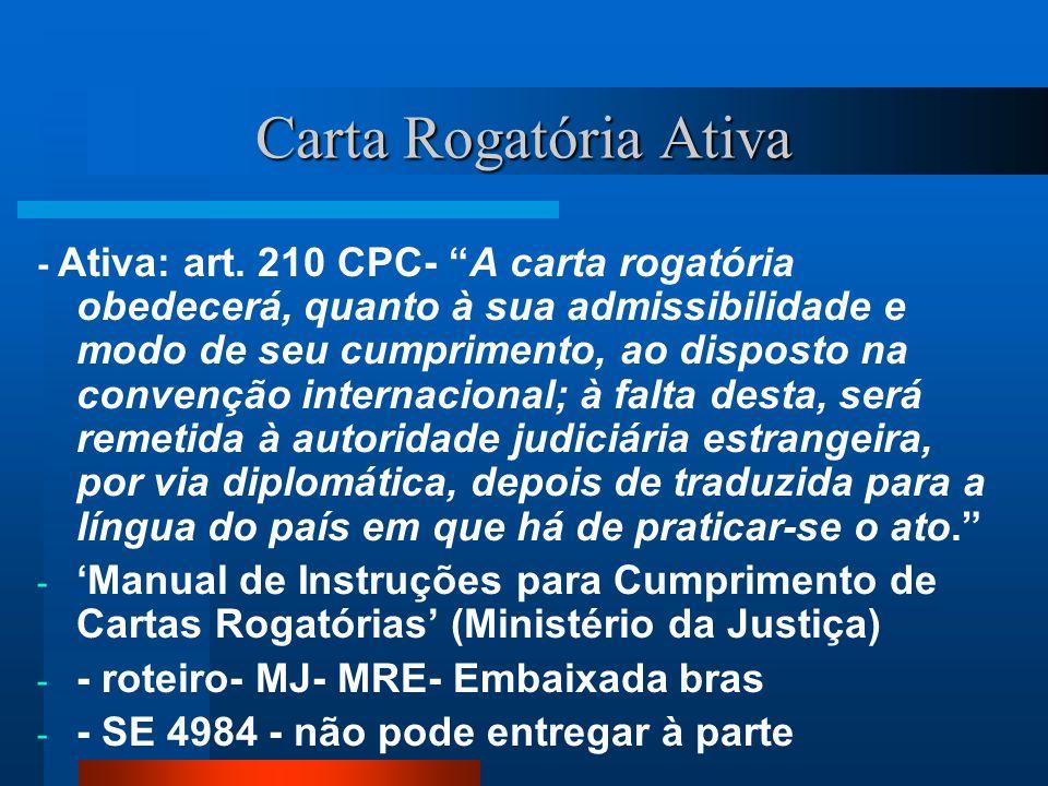 Carta Rogatória Ativa - Ativa: art. 210 CPC- A carta rogatória obedecerá, quanto à sua admissibilidade e modo de seu cumprimento, ao disposto na conve