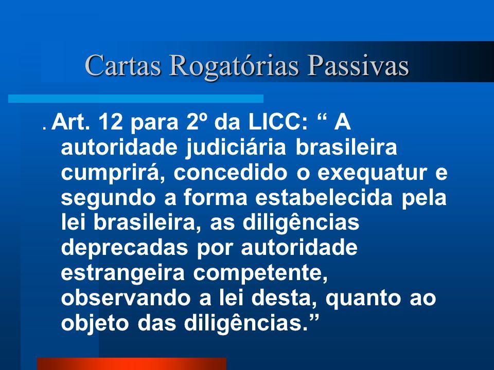 Cartas Rogatórias Passivas. Art. 12 para 2º da LICC: A autoridade judiciária brasileira cumprirá, concedido o exequatur e segundo a forma estabelecida