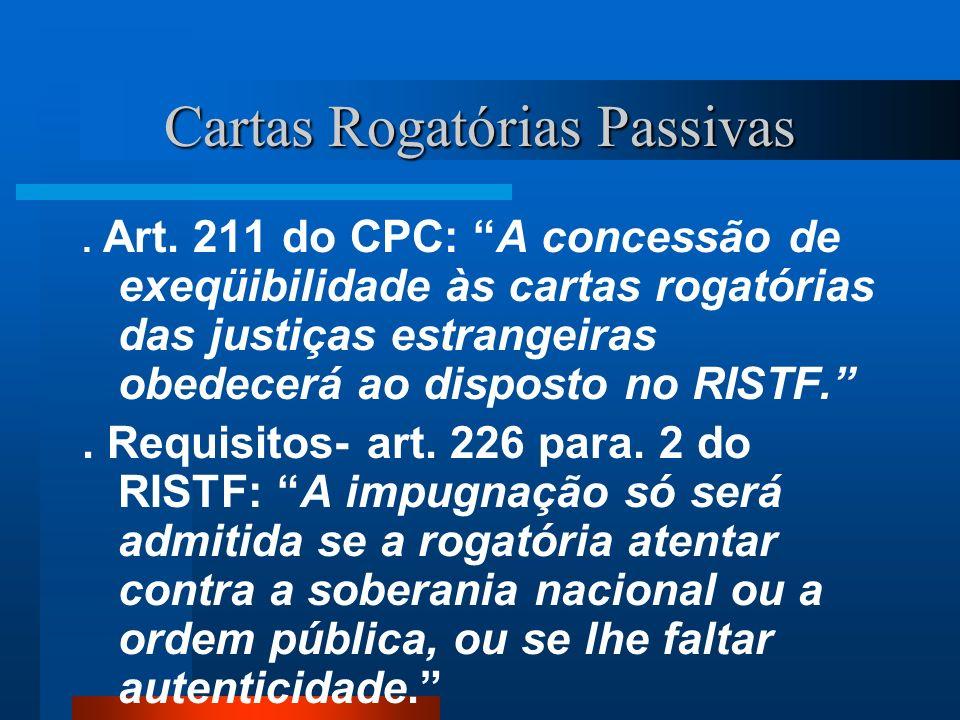 Cartas Rogatórias Passivas. Art. 211 do CPC: A concessão de exeqüibilidade às cartas rogatórias das justiças estrangeiras obedecerá ao disposto no RIS