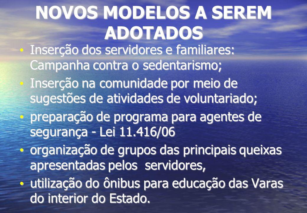 NOVOS MODELOS A SEREM ADOTADOS Inserção dos servidores e familiares: Campanha contra o sedentarismo; Inserção dos servidores e familiares: Campanha co