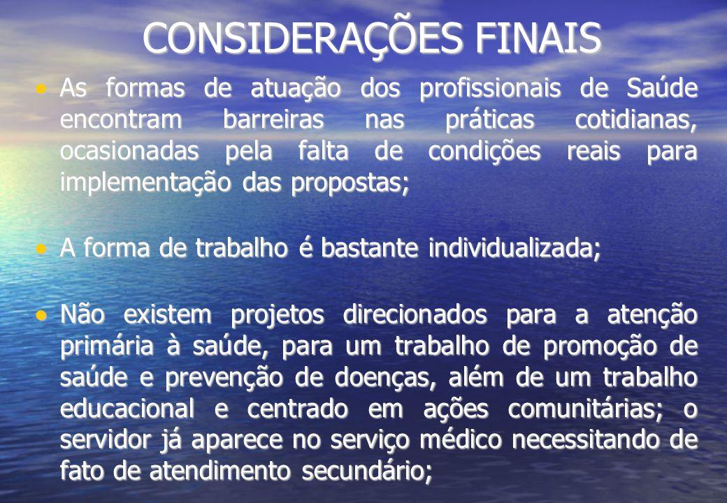 CONSIDERAÇÕES FINAIS As formas de atuação dos profissionais de Saúde encontram barreiras nas práticas cotidianas, ocasionadas pela falta de condições