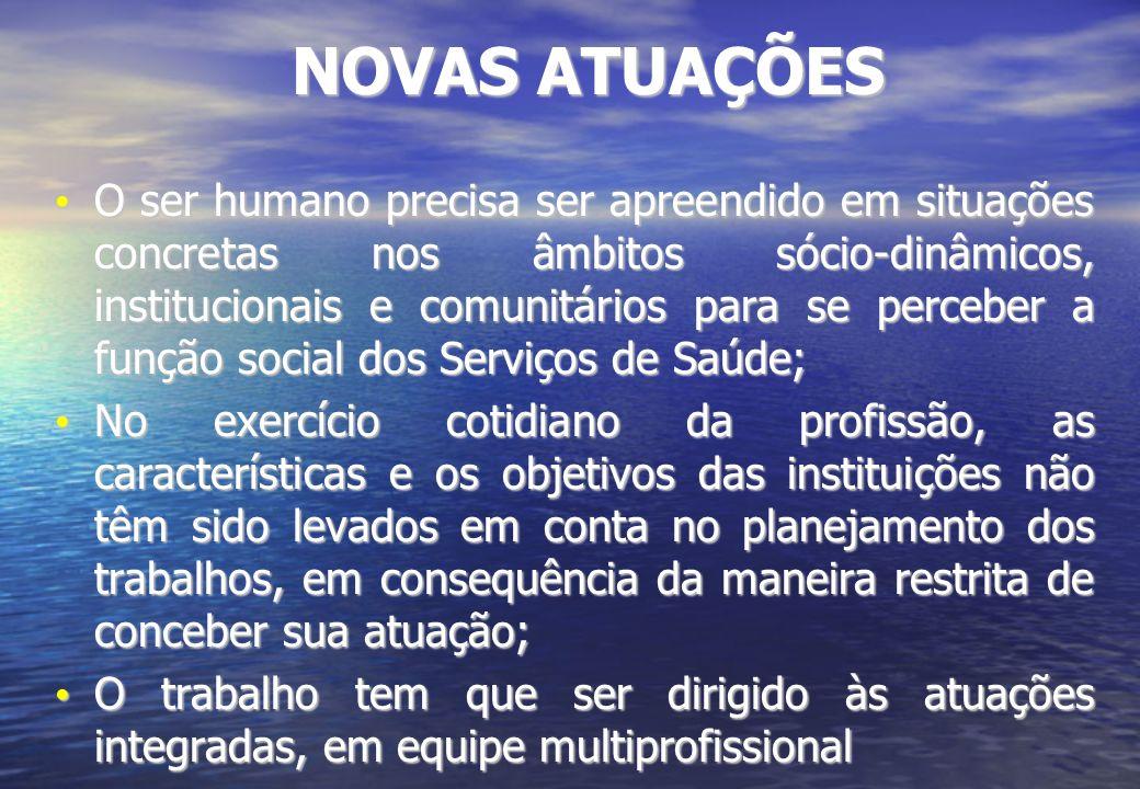NOVAS ATUAÇÕES O ser humano precisa ser apreendido em situações concretas nos âmbitos sócio-dinâmicos, institucionais e comunitários para se perceber