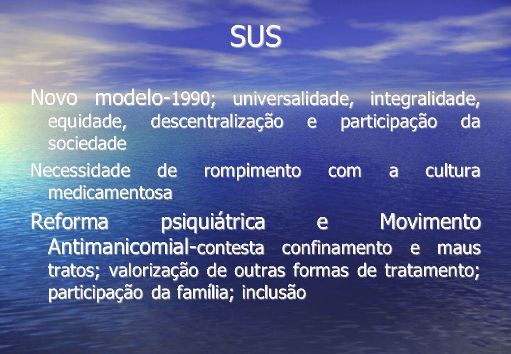 SUS Novo modelo- 1990; universalidade, integralidade, equidade, descentralização e participação da sociedade Necessidade de rompimento com a cultura m