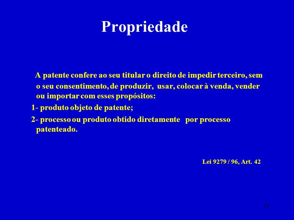 10 Propriedade A patente confere ao seu titular o direito de impedir terceiro, sem o seu consentimento, de produzir, usar, colocar à venda, vender ou