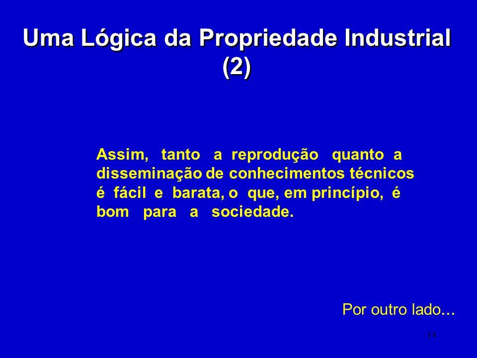 14 Uma Lógica da Propriedade Industrial (2) Assim, tanto a reprodução quanto a disseminação de conhecimentos técnicos é fácil e barata, o que, em prin