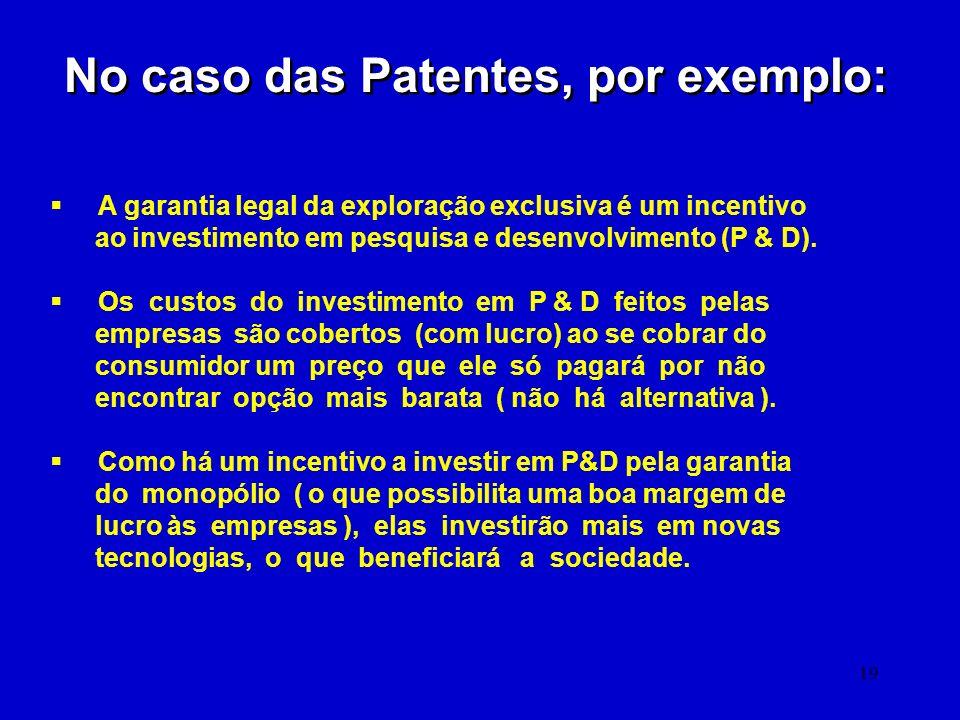 19 No caso das Patentes, por exemplo: A garantia legal da exploração exclusiva é um incentivo ao investimento em pesquisa e desenvolvimento (P & D). O