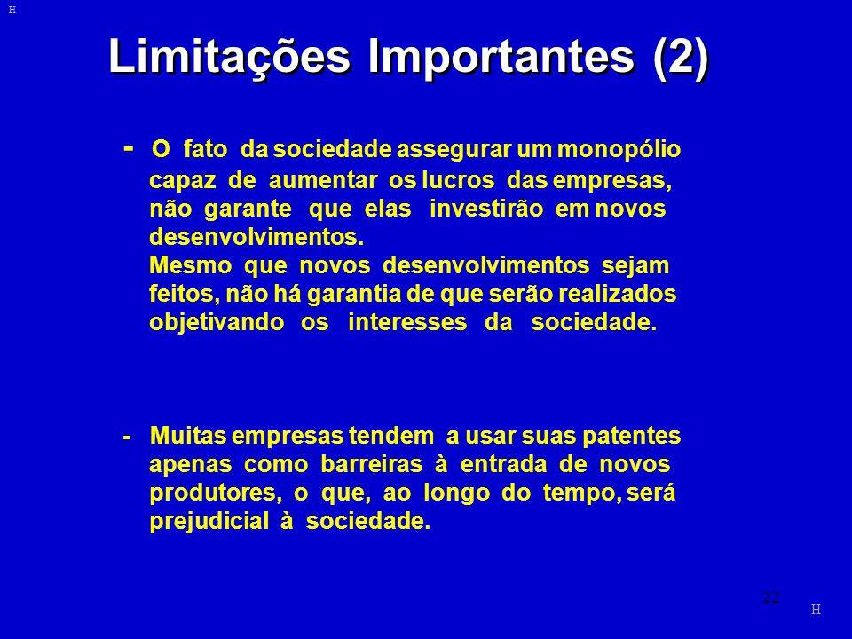 22 Limitações Importantes (2) - O fato da sociedade assegurar um monopólio capaz de aumentar os lucros das empresas, não garante que elas investirão e