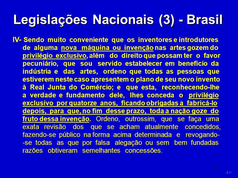 31 Legislações Nacionais (3) - Brasil IV- Sendo muito conveniente que os inventores e introdutores de alguma nova máquina ou invenção nas artes gozem