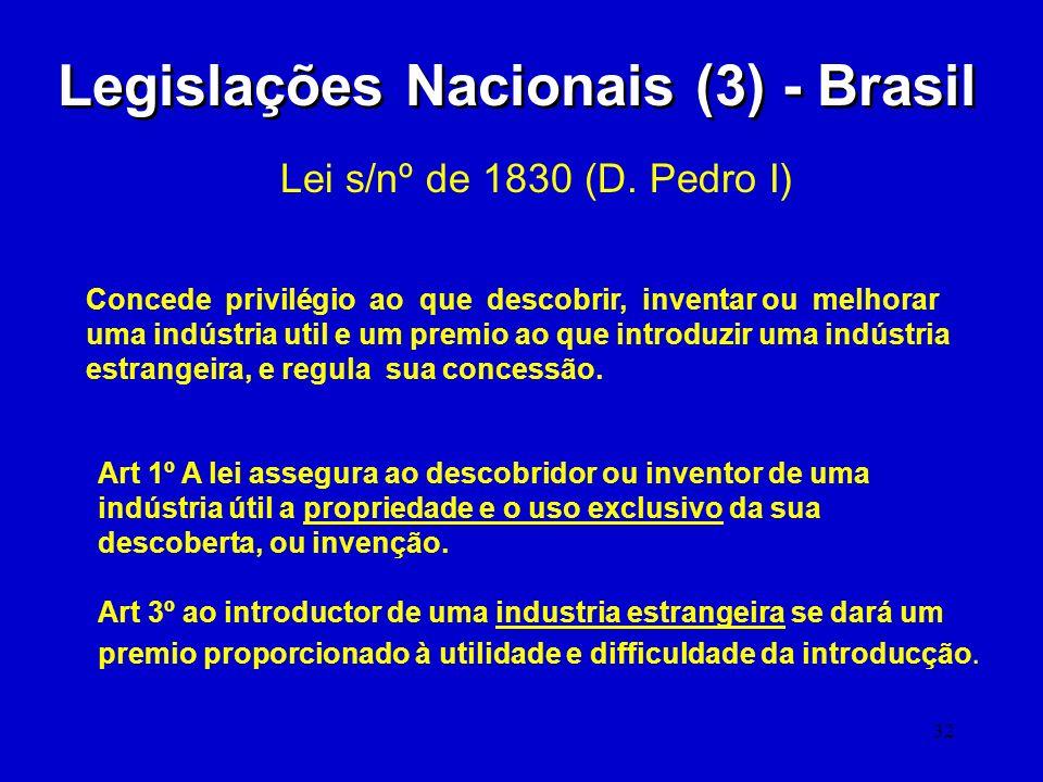32 Legislações Nacionais (3) - Brasil Lei s/nº de 1830 (D. Pedro I) Concede privilégio ao que descobrir, inventar ou melhorar uma indústria util e um