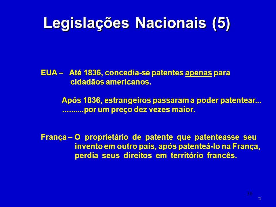 36 Legislações Nacionais (5) EUA – Até 1836, concedia-se patentes apenas para cidadãos americanos. Após 1836, estrangeiros passaram a poder patentear.