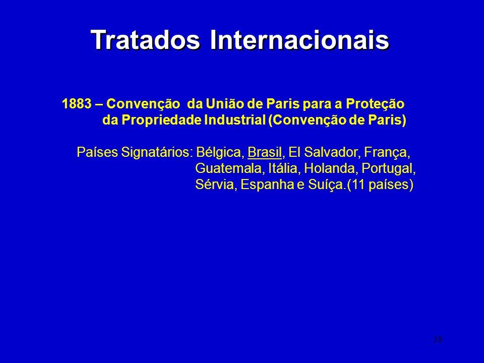 38 Tratados Internacionais 1883 – Convenção da União de Paris para a Proteção da Propriedade Industrial (Convenção de Paris) Países Signatários: Bélgi