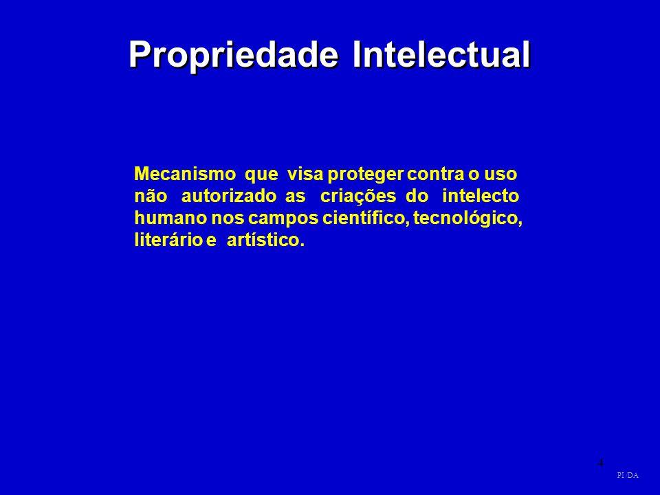 4 Propriedade Intelectual Mecanismo que visa proteger contra o uso não autorizado as criações do intelecto humano nos campos científico, tecnológico,