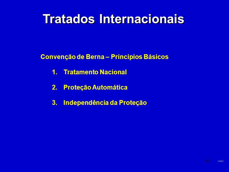 41 Tratados Internacionais Convenção de Berna – Princípios Básicos 1.Tratamento Nacional 2.Proteção Automática 3.Independência da Proteção ompi