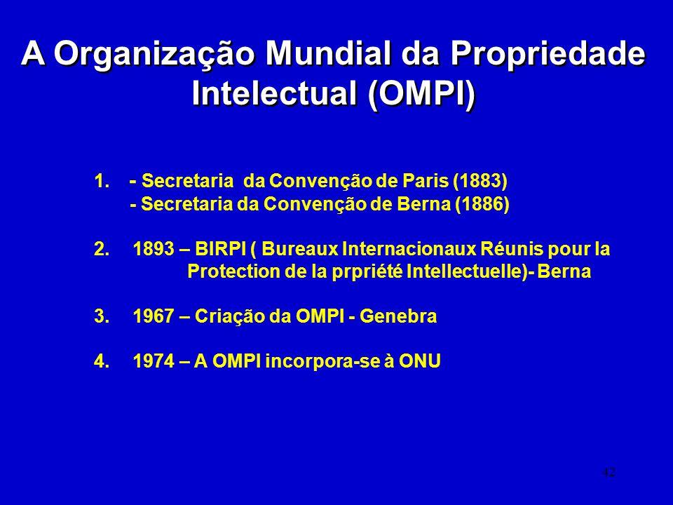 42 A Organização Mundial da Propriedade Intelectual (OMPI) 1. - Secretaria da Convenção de Paris (1883) - Secretaria da Convenção de Berna (1886) 2. 1