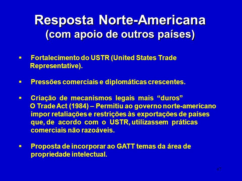 47 Resposta Norte-Americana (com apoio de outros países) Resposta Norte-Americana (com apoio de outros países) Fortalecimento do USTR (United States T