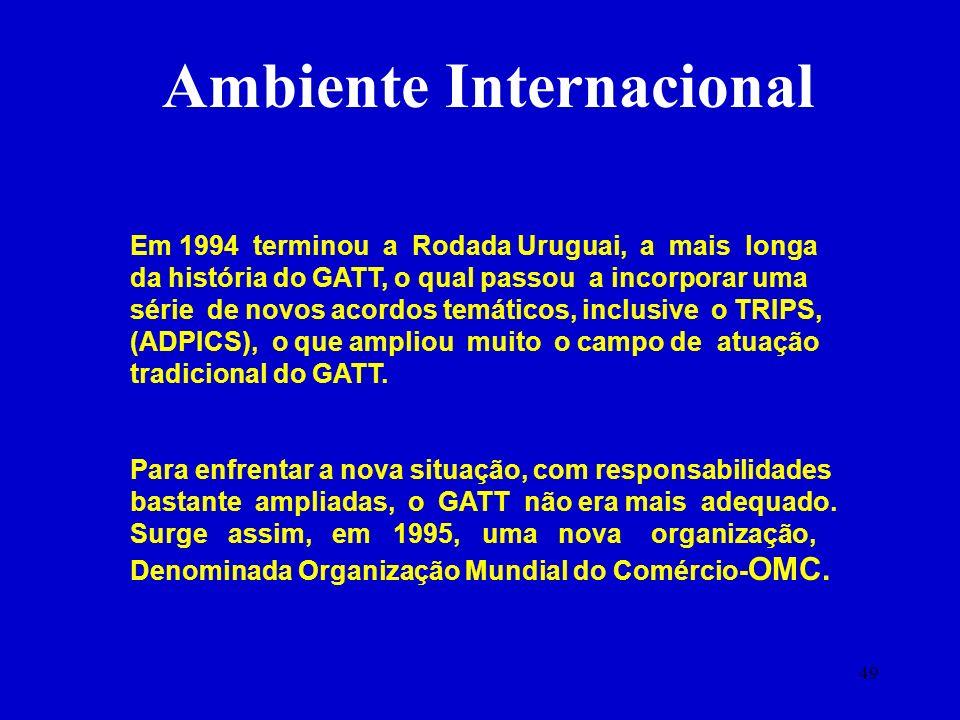 49 Em 1994 terminou a Rodada Uruguai, a mais longa da história do GATT, o qual passou a incorporar uma série de novos acordos temáticos, inclusive o T